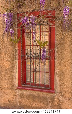Santa Fe window in adobe wall with red frame and wisteria