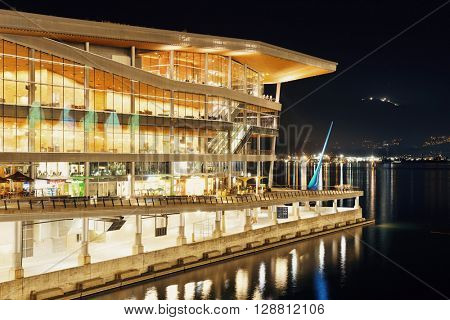 VANCOUVER, BC - AUG 17: Canada Place at waterfront at night on August 17, 2015 in Vancouver, Canada. With 603k population, it is one of the most ethnically diverse cities in Canada.