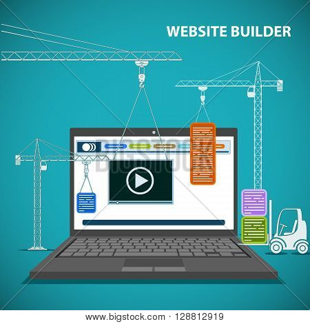 Construction machinery is building a website on a laptop. Flat graphic. Creating a web page design. Stock vector illustration.