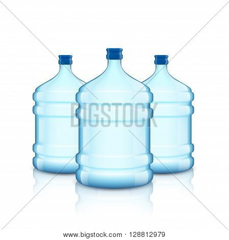 Big bottle with clean water. Plastic container for the cooler. Isolated on white background. Stock vector illustration.