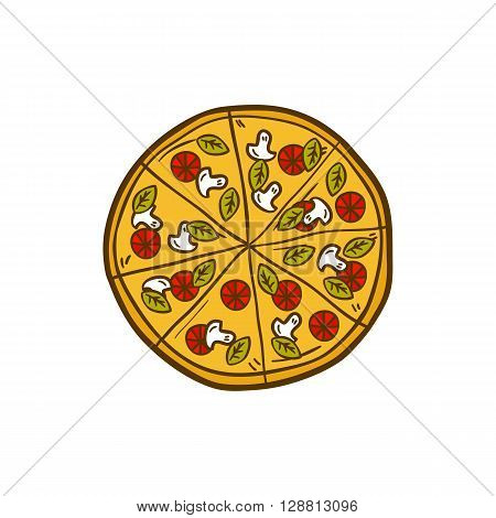 Vector illustration with cartoon hand drawn pizza. Vector background with italian cuisine object. Great for cartoon cafe restaurant or pizzeria design. Hand drawn isolated pizza logo emblem sign
