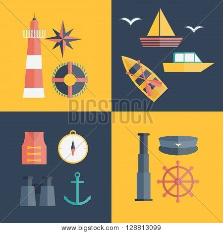 Vector cartoon flat nautical icons. Illustration cruise concept. Vector nautical sea ocean objects: lighthouse compass life vest anchor sailboat captain sailor hat lifebuoy wheel binoculars