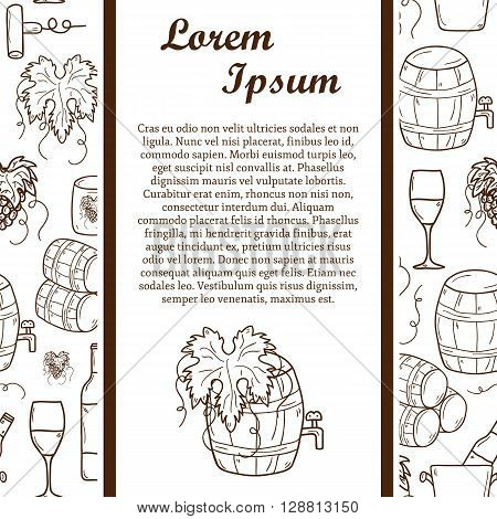 Vineyard or restaurnt concept with cartoon wine objects in hand drawn style and seamless background: bottle glass barrel grapes for your design