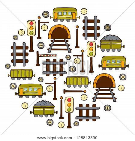 Background with hand drawn railroad objects: wagons semaphore railway station clock locomotive barrier tunnel. Transport shipping delivery or travel concept for your design
