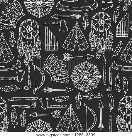 Seamless background with hand drawn objects on tribal theme: tomahawk feather canoe bow arrow hat mandala flute pipe dreamcatcher. Native american concept for your design