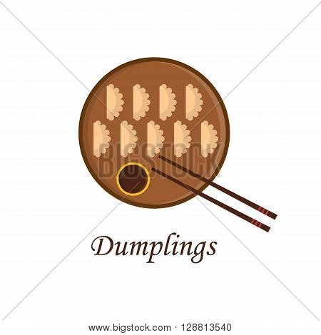 Vector illustration with cartoon chinese dumplings on plate with soy sauce. Chinese cuisine concept. Traditional asian food. Plate with dumplings sauce and chopsticks. Restaurant menu or logo