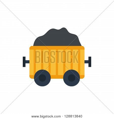 Vector illustration with cartoon flat mining cart. Isolated mine coal wagon. Industrial transportation. Mining wagon on white background. Game cartoon flat design. Transportation icon