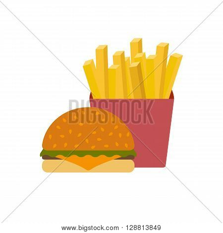 American food or meals concept. Fast food cafe or restaurant. Flat objects: burger french fries. Junk unhealthy food. Obesity concept for flat infographics. American cuisine background