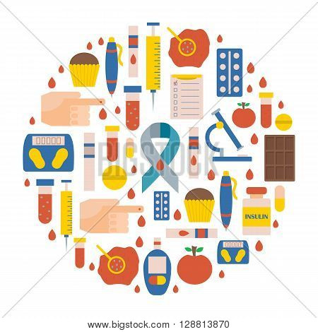 Vector illustration with flat diabetes icons: glucometer hand with blood medicament sweets diabetes emblem. Self-control sugar level measurement. Vector blood glucose test. Health care equipment