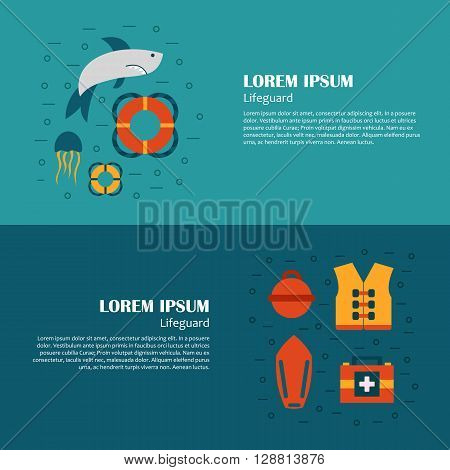 Vector flat cartoon beach lifeguard beach objects: buoy shark medusa lifebuoy life vest whistle. Vector lifeguard icons. Emergence survival security beach nautical objects. Summer cartoon icons