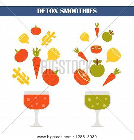 Vector illustration with ingredients for making detox smoothies. Cartoon vector flat vegetables fruits ginger pumpkin. Organic vitamin diet detox smoothies. Make your own healthy vegan smoothie.