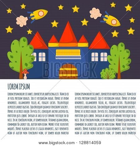 Vector illustration with cute colorful cartoon fantasy world: rockets castle trees stars. Children book cartoon cover or illustration. Vector background. Fantasy dream world pattern