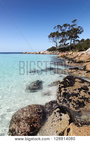 Binalong Bay in Tasmania is located in the Bay of Fires region on the East Coast. Beaches and rocky bays like this one are a spectacular attraction.