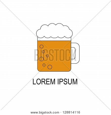 Vector illustration with flat line beer icon. Bar or pub logo design. Alcohol beverage concept. Vector glass with beer and foam.Cold refreshment beverage. Tavern pub bar background. Vector icon