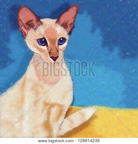 Oriental Shorthair. Watercolor sketch illustration of a cat at home.