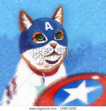 Captain America Cat. Watercolor sketch illustration of a cat at home.
