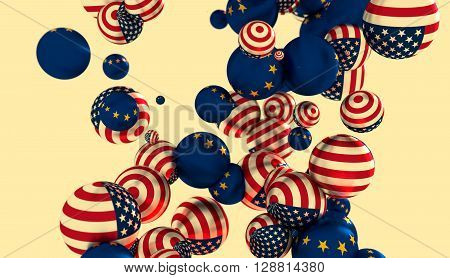 Large group of orbs or spheres levitation in empty space. 3D rendering. USA and European Union flags
