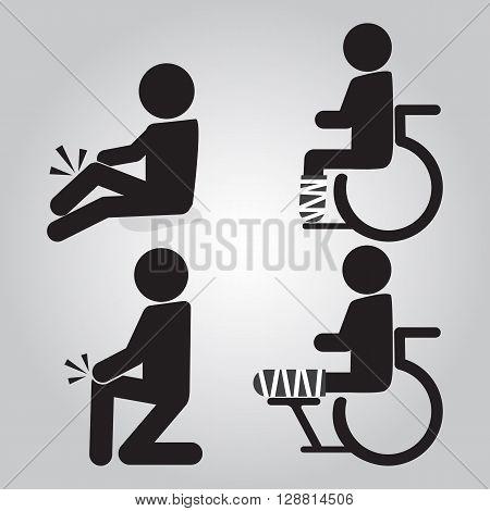 Injury man in bandage and wheelchair sign icon set illustration