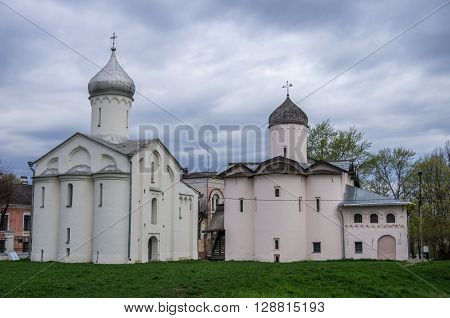 Veliky Novgorod, Russia - May 3, 2016: The Church of the myrrh-bearing women and Procopius in Yaroslav's court. Veliky Novgorod