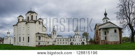 Veliky Novgorod, Russia - May 3, 2016: Panorama of medieval churches in Yaroslav's Courtyard in Veliky Novgorod Russia