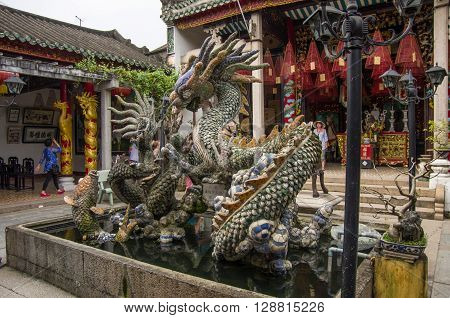 Hoi An, Vietnam - 7 january, 2015: Dragon Sculptures At Hoi Quan Quang Trieu Temple ( Cantonese Assembly Hall ) Hoi An Vietnam