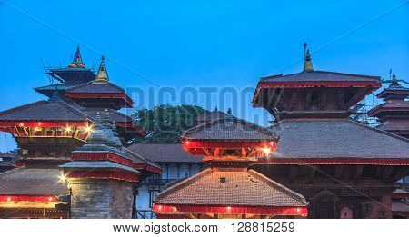 It is the view of temples at Kathmandu durbar square in the evening.