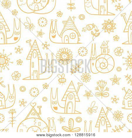 Seamless pattern with cute cartoon snails and their houses on  white  background. Summer meadow with flowers and insects. Vector image. Children's illustration. Contour image.