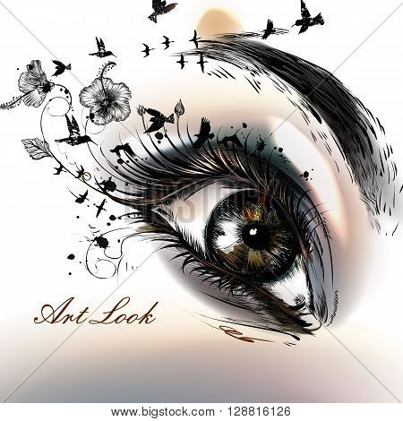 Art fashion illustration with hand drawn female eye beautiful art look