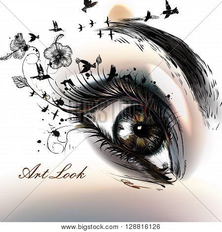 Art fashion illustration with hand drawn female eye beautiful art look