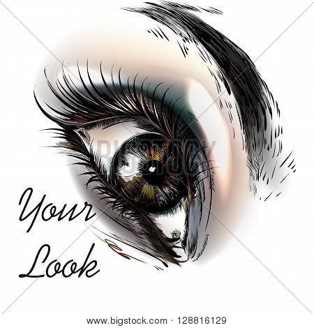 Art fashion illustration with hand drawn realistic female eye beautiful look