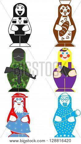 modern doll matryoshka man symbolizing different professions