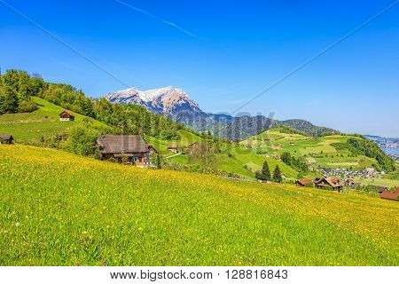Landscape in the Swiss canton of Nidwalden in the region of the town of Stans in the beginning of May.