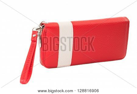 Female red purse on white background woman, color, personal,