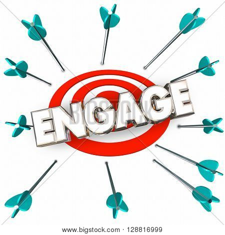 Engage Get Involved Participate Arrows Bullseye Word 3d Illustration