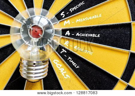 SMART GOALS and Big bulb target on bullseye with dartboard background symbol of big idea to success Business finance wealth profit success concept