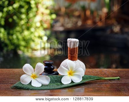 Spa massage compress balls, herbal ball and rock spawith flower, Thailand