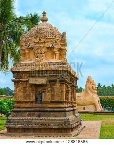 View At Detail Hindu Temple Dedicated To Shiva, Ancient Gangaikonda Cholapuram Temple, India, Tamil