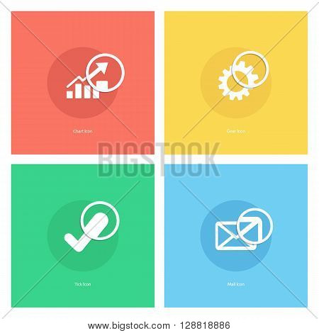 Chart icon, gear icon, tick icon, mail icon with magnifying glass. Vector illustration.