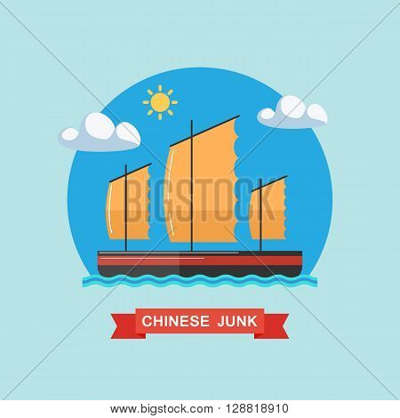 Chinese junk. Junk boat. Flat vector illustration.