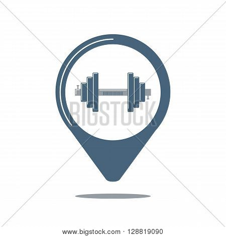 Map pointer with dumbbell. Geo pin. Sport club navigation. Vector illustration.
