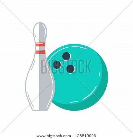 Bowling ball and bowling pin. Ball with pin skittle. Bowling game sign. Vector illustration.