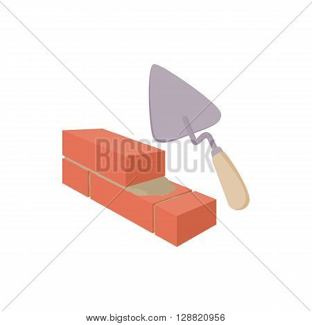 Brickwork and building trowel icon in cartoon style on a white background