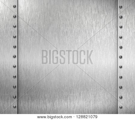 brushed metal background with rivets