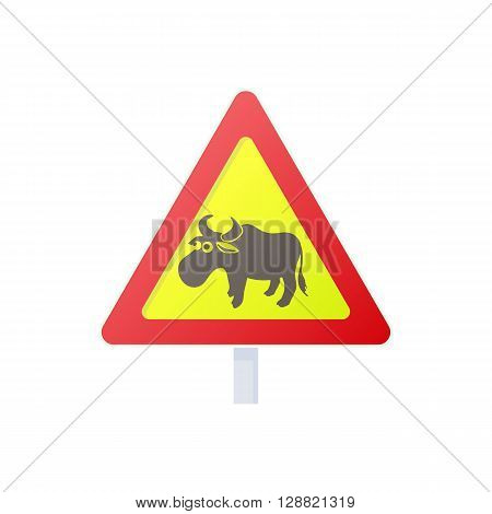 Elk road sign icon in cartoon style on a white background