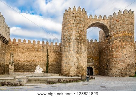 AVILA,SPAIN - APRIL 23,2016 -Wall with Gate Alcazar in Avila . Avila is a Spanish town located in the autonomous community of Castile and Leon .
