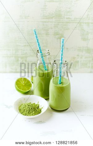 Organic avocado, cucumber and celery smoothie with barley grass