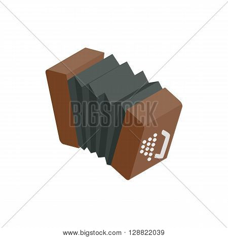 Bandoneon accordion icon in isometric 3d style on a white background