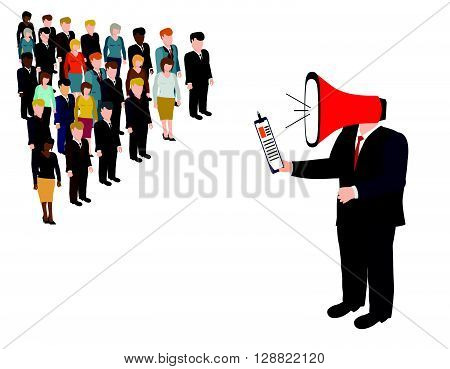 Director subordinate commands. Man with megaphone vector illustration. Big boss yelling to her employee with megaphone. Work pressure concept.
