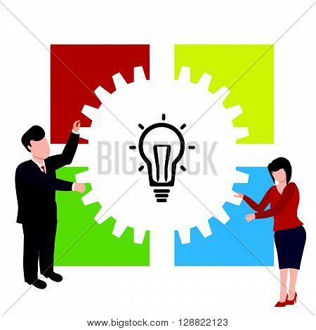Teamwork Illustration concept.Light bulb - business vector. Business people cooperation.Creative team VECTOR illustration.Infographic business plan.