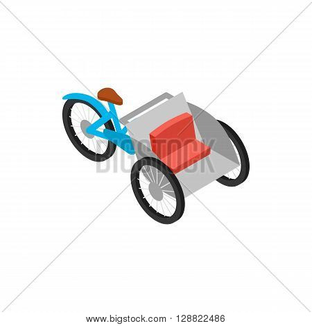 Vietnamese cyclo icon in isometric 3d style on a white background